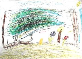 Kid drawing after the labyrinth walk